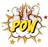 Word Pow on comic cloud explosion background vector