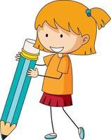 Cute girl holding pencil doodle cartoon character vector