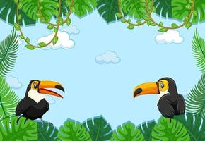 Empty banner with tropical leaves frame and toucan cartoon character vector