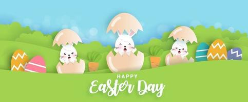 Happy Easter day sale banner vector