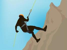 Abseiling Rock Climbing on illustration graphic vector