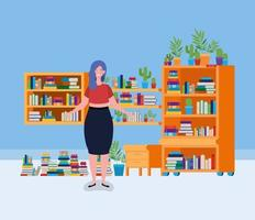 young woman standing in the library room vector