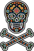 mexican sugar skull pattern, vintage design for t-shirts vector