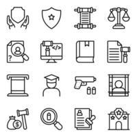 paquete de iconos lineales de ley vector
