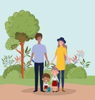 Interracial family at the park vector