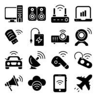 paquete de dispositivos iconos sólidos vector