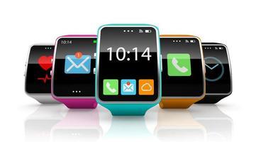 Relojes inteligentes de colores aislados sobre un fondo blanco.