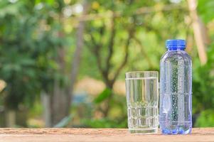 Botella y un vaso de agua potable en el fondo de la naturaleza foto