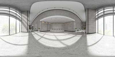 Proyección panorámica esférica de 360 del interior de un área de recepción en la ilustración 3d foto