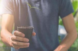 Man holding a plant pot