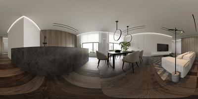 Minimalist interior of a modern living room in 3D rendering