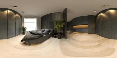 360 panorama view of a black minimalist interior of a modern home in 3D rendering