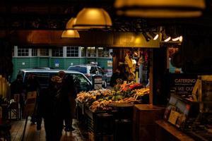 Seattle, WA 2020-Pike's Place Market tourists photo