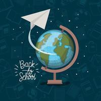 mapa del mundo y suministros de regreso a la escuela. vector