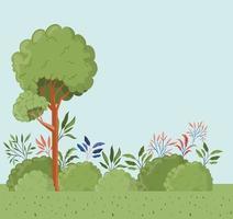 árboles y hojas con escena de paisaje de arbustos. vector