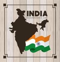 bandera india del día de la independencia y mapa con fondo de madera vector
