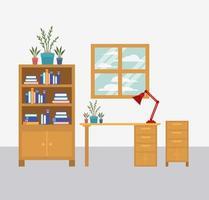 Ilustración de vector de icono de escena de espacio de trabajo de oficina