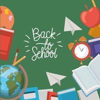 útiles escolares marco de regreso a la escuela vector