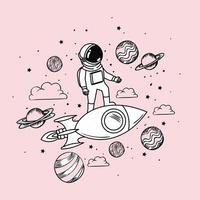 Astronaut drawing with rocket and planets design vector