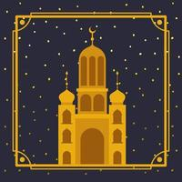 frame with golden mosque building vector