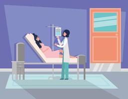 mujer embarazada, y, médico, en, un, habitación de hospital
