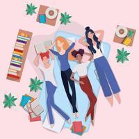 interracial women laying down vector