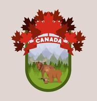 Canadian seal with animals vector