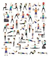 Set of people working out vector