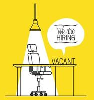 office workplace with we are hiring message vector