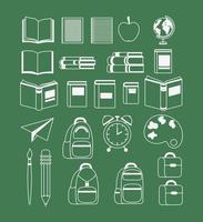 conjunto de útiles escolares vector