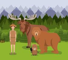 Ranger with animals design vector