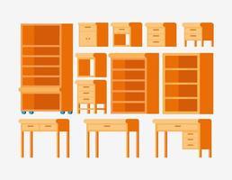 conjunto de muebles de madera vector