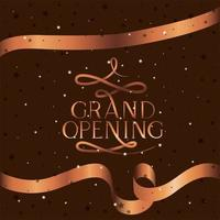 grand opening message with golden ribbon vector