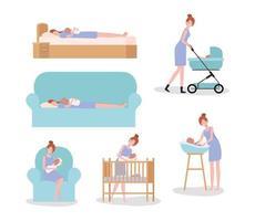 cute mother with newborn baby set activities vector