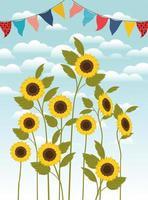 beautiful sunflowers garden and garlands scene vector