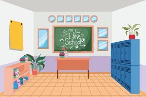 school scene with lockers vector