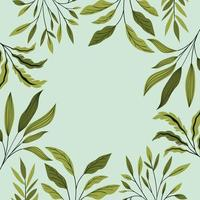 green leafs natural frame decoration vector