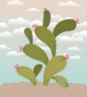 cactus en un jardín vector