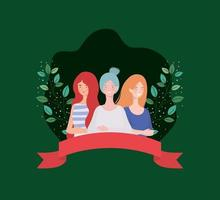 group of women standing with ribbon and leafs vector