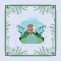 afro old man card with herbal frame vector