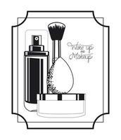 conjunto de marco de productos de maquillaje vector
