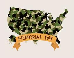 usa map with camouflage and tape of memorial day emblem vector