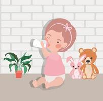 little baby girl with bottle of milk and stuffed toys character vector