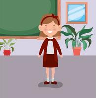 little student girl in the classroom vector