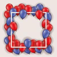 marco cuadrado con globos rojos y azules
