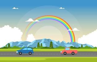 Mountain Road Rainbow Nature Landscape Scenery Illustration vector