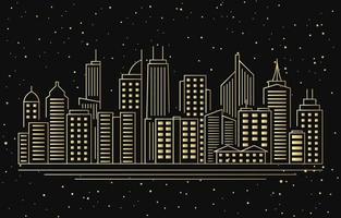 Night Urban City Building Cityscape Landscape Line Illustration vector