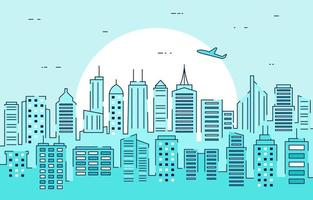 City Skyline at Sunset Illustration vector