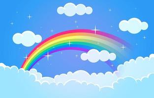 Beautiful Colorful Rainbow Cloud Sky Nature Illustration vector