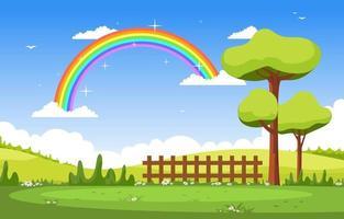 Beautiful Rainbow in Summer Nature Landscape Scenery Illustration vector